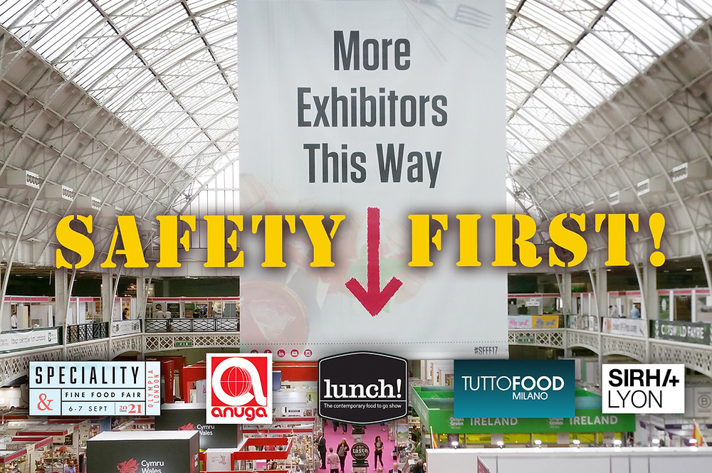 Photo of trade show with trade show logos to illustrate article about Covid-safety.