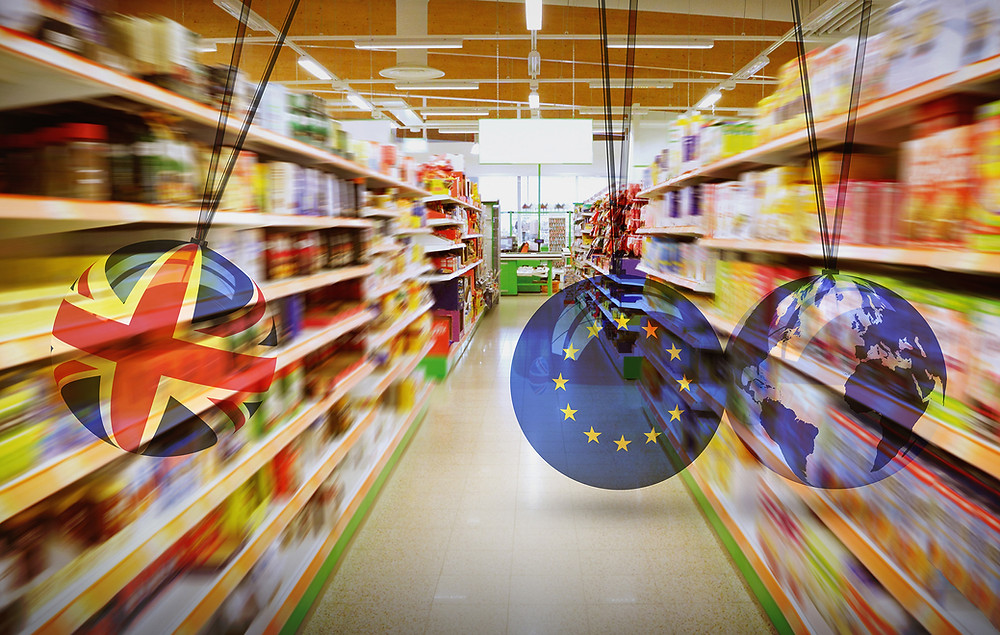 Image to illustrate article with supermarket aisle and colliding flags