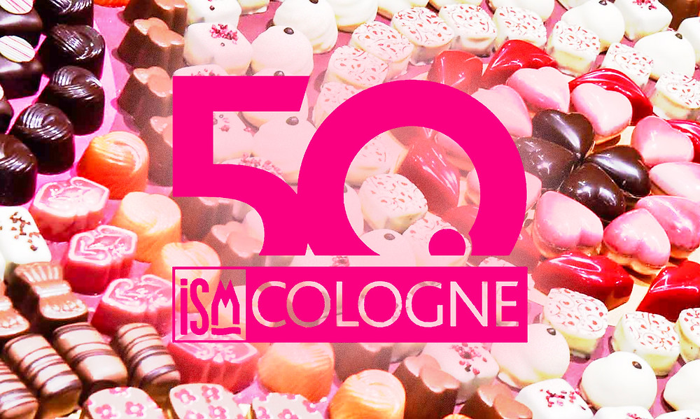 Confectionary and snacks with ISM Cologne 50 year logo superimposed