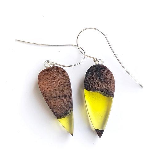 Lemon Yellow Wood and Resin Earrings