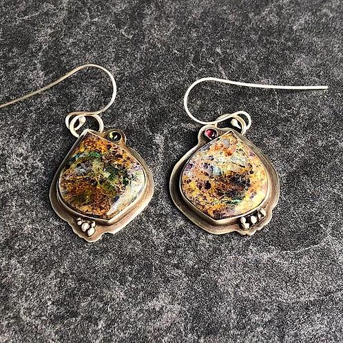 Kaleidoscope Stone  Sterling Silver Earrings