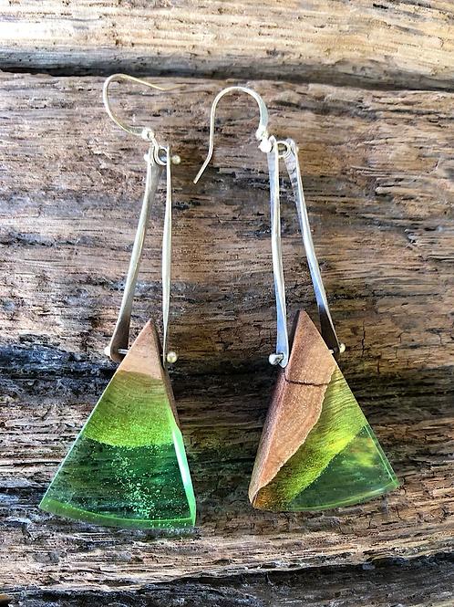 Green Australian Mallee wood & dyed resin earrings.