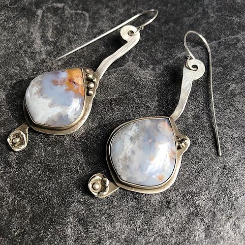 Plume Agate earrings in Sterling Silver