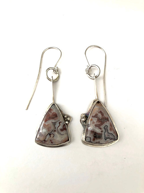 Sterling Silver earrings with Mexican Crazy Lace Agate