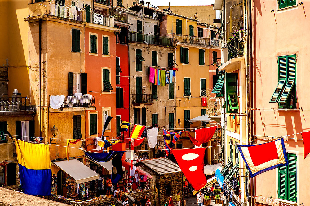 Vernazza Flags, Vernazza, Cinque Terre, Italy