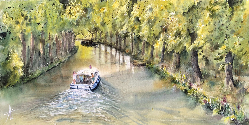 Panoramique, l'été au bord du canal