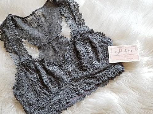 Lace Bralette - Grey