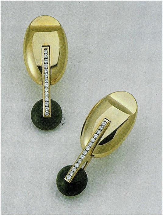 Earings - Gold, Diamond & Onice