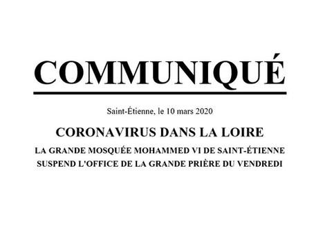 COMMUNIQUÉ : CORONAVIRUS DANS LA LOIRE