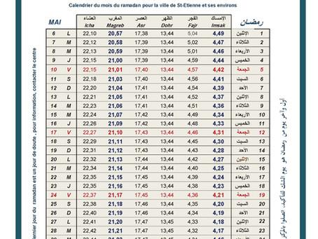Calendrier du  Ramadan