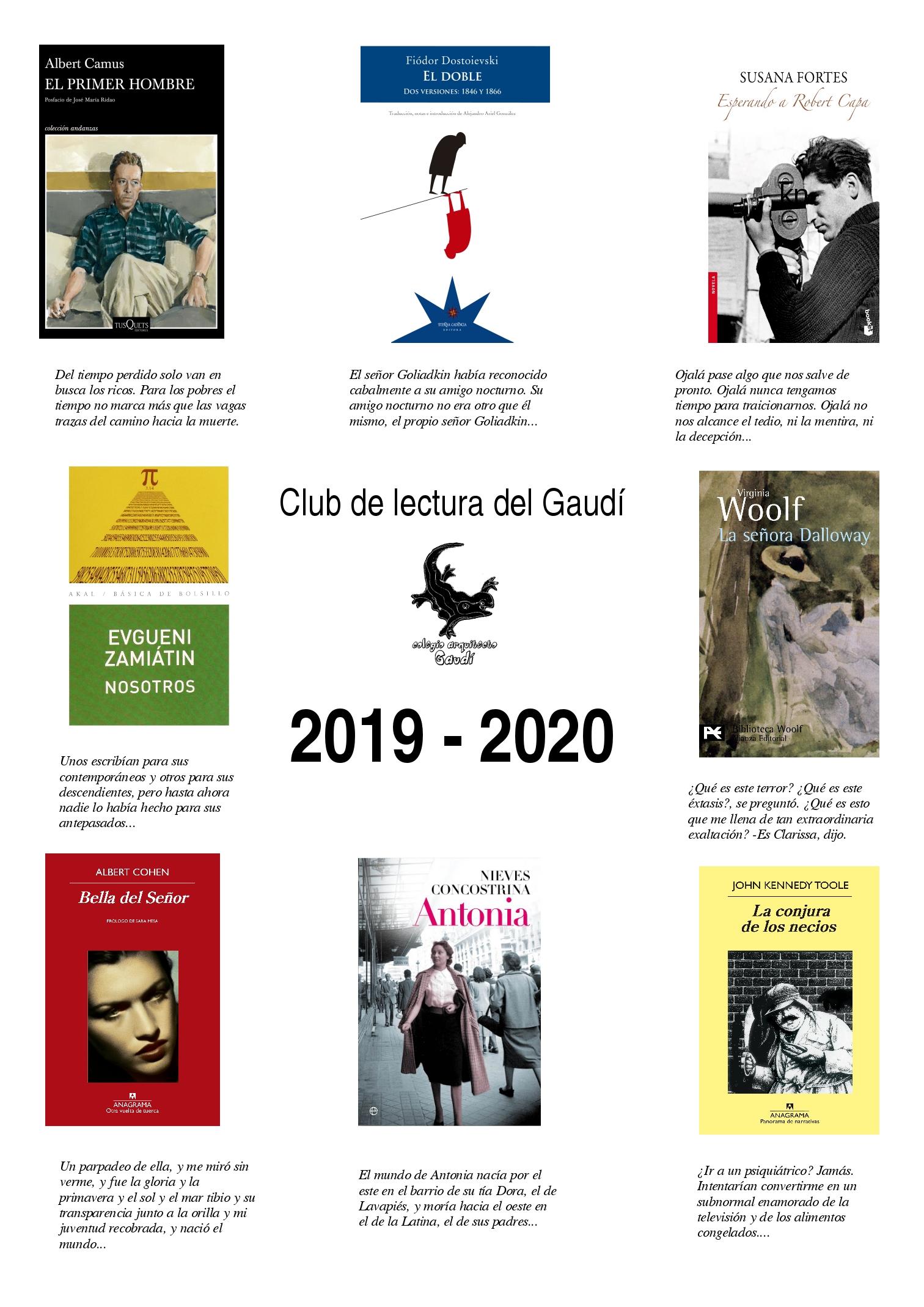 CLUB DE LECTURA GAUDÍ 2019-2020