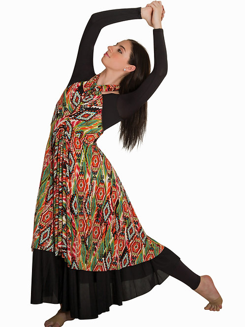 664 Tribal Print Tunic/Skirt