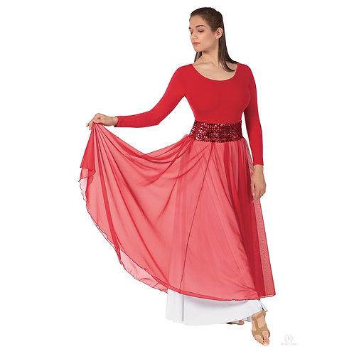 39746 Floor Length Chiffon Overlay Skirt