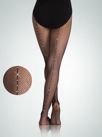 A64 Rhinestone Backseam Fishnet