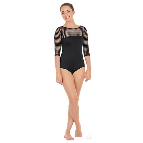 EU61751 Striped 3/4 Sleeve Leotard