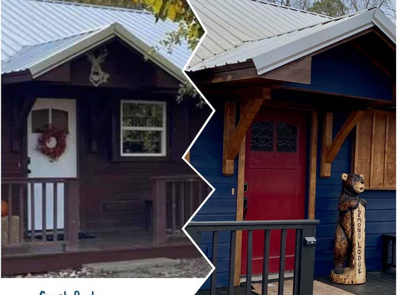 Front of Cabin - before & after