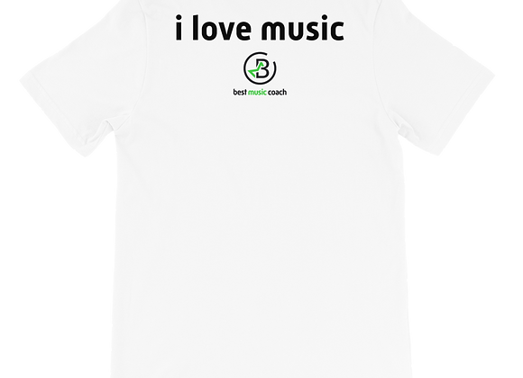 """""""I Love Music"""" Adult Front and Back T-Shirt"""