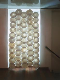 Wall Disks installation, Louis Poulsen showroom, Copenhagen, Denmark