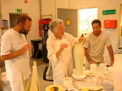 Margaret and the Royal Copenhagen team experimenting in the factory