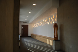 Space Disks, thrown porcelain light sculpture installation. Private Collection