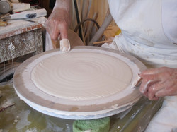 Cutting the thrown porcelain prior to wrapping the form