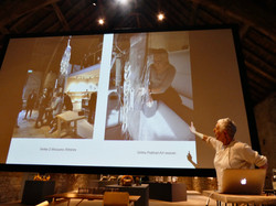 Margaret at Messums Wiltshire giving a lecture on the creation of Vortex 2 chandelier