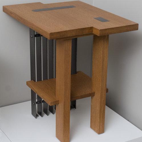 White Oak & Steel End Table