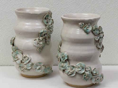 White & Green Flower Vase