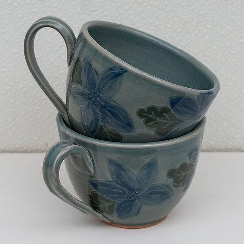 Coffee Mugs, Blue, set of 2