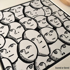 MegaLilyDesign linocut print called Scared or Bored