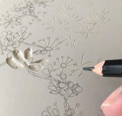 Linocut reduction print in progress