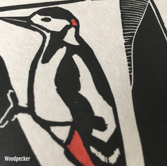 MegaLilyDesign Woodpecker Linocut Print