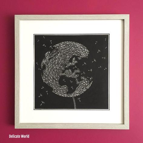 MegaLilyDesign Delicate World Linocut Print