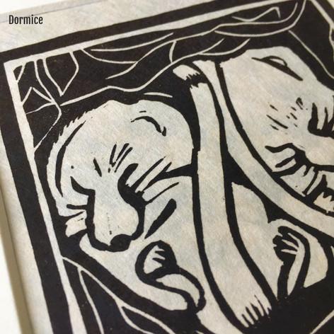 MegaLilyDesign Dormice Lino Print