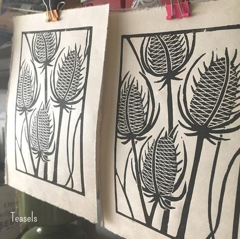 MegaLilyDesign Teasels Linocut Print