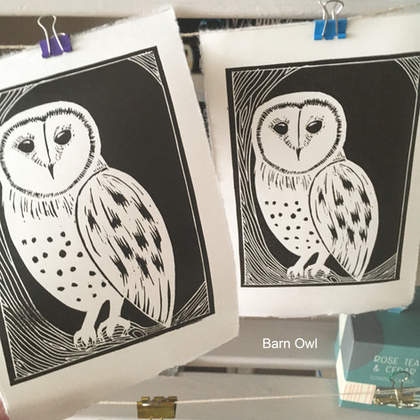 MegaLilyDesign Barn Owl Lino Print