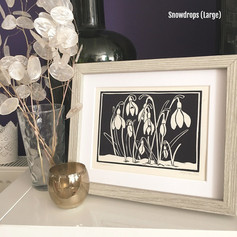 MegaLilyDesign Large Snowdrops Lino Print