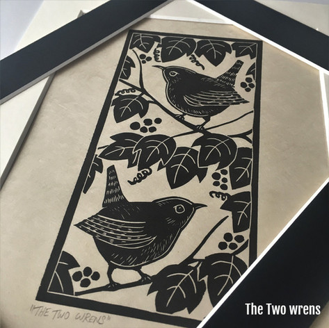 MegaLilyDesign The Two Wrens Linocut Print
