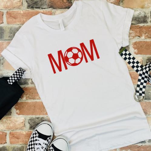 Soccer Mom Red - White Tee