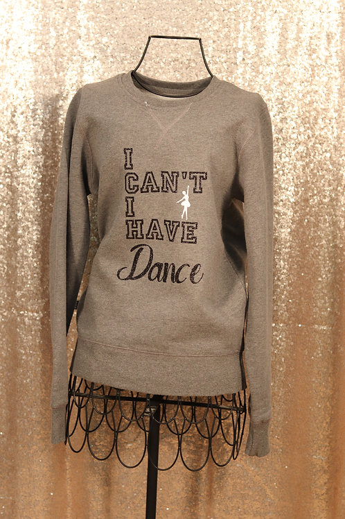 I Can't I Have Dance Blk/Wh Grey Sweater