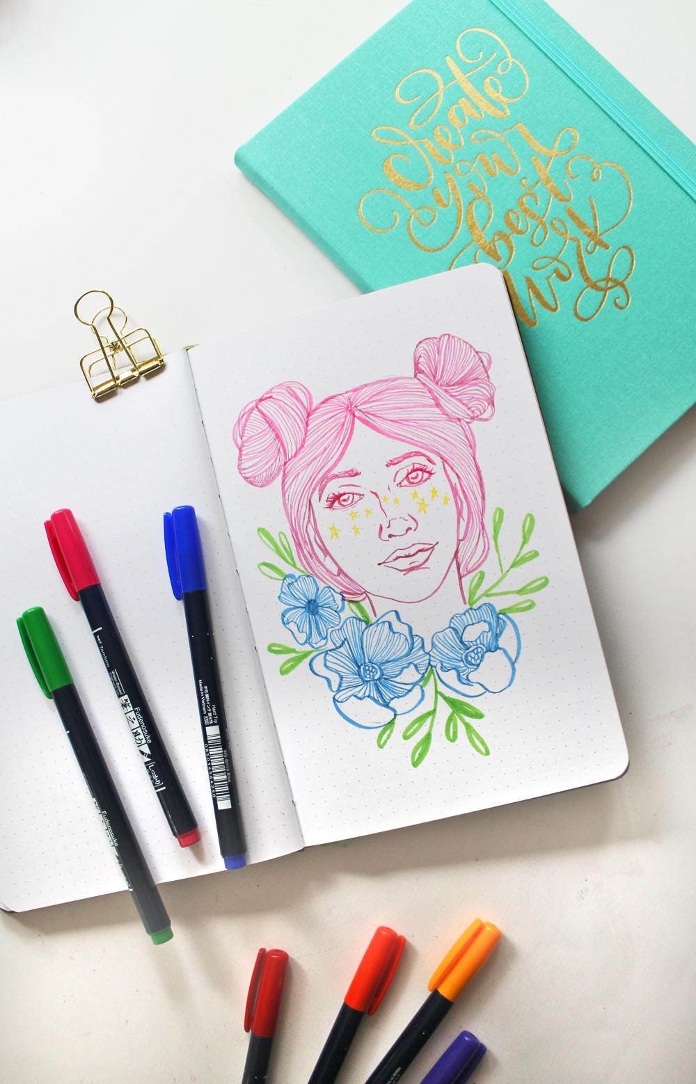 @studiokatie sketching with @tombowusa's brand new Fudenosuke Colors
