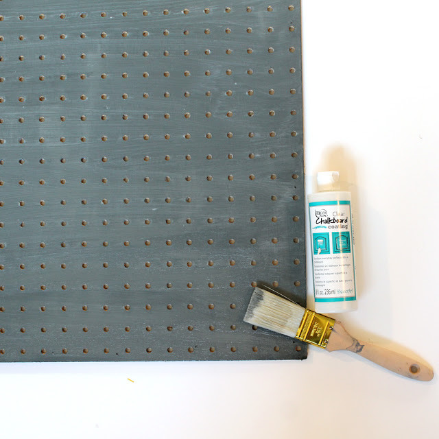 Use @decoart Chalkboard Coating to make this Chalkboard Pegboard Kitchen Organizer. Tutorial by @punkprojects