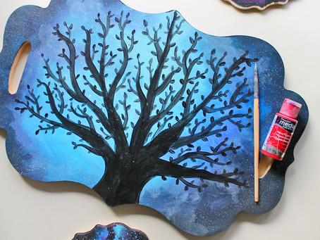 DIY Acrylic Paint Galaxy on Wood