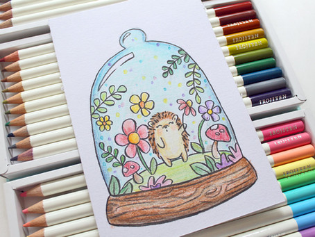 Easy Colored Pencil Hedgehog Art