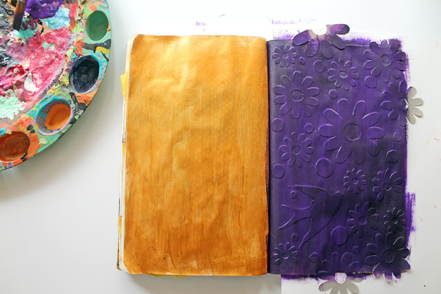 """@punkprojects uses @hazelandruby """"Cut Your Own Stencil"""" material to make this fun flowered art journal page."""