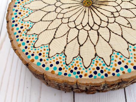 DIY Wood Burned/Pointillism Mandala Art