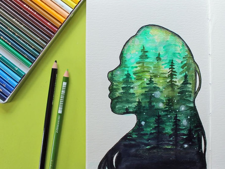 Watercolor Double Exposure Nature Art with Tombow Dual Brush Pens
