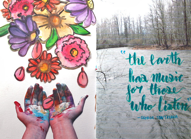 Flowers Falling   An art journal page by @punkprojects Katie Smith