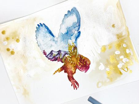 DIY Watercolor Fall Owl Art