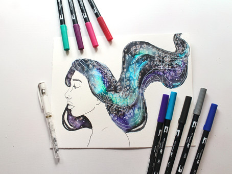 How to Paint Galaxy Hair using Tombow Dual Brush Pens